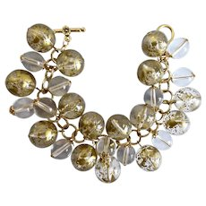 Gold Tone Speckled Vintage lucite Bubble Balls and Clear Glass Charm Bracelet, One of a Kind