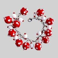 """Red and White Polka Dot Artisan Charm Bracelet, 7.5"""""""