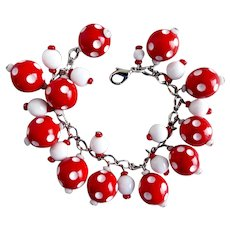 Red and White Polka Dot Artisan Charm Bracelet, 7.5""