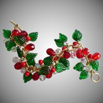 Green Glass Leaves, Red and Crystal Christmas Charm Bracelet, Artisan One of a Kind