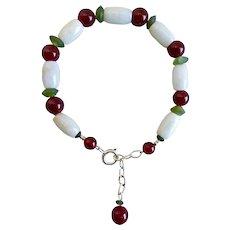 """White Nephrite jade, Carnelian, and Aventurine Bracelet, 7 1/2"""" to 9"""""""