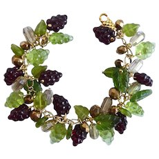 Dark Burgundy and Green Glass Grapes Artisan Charm Bracelet