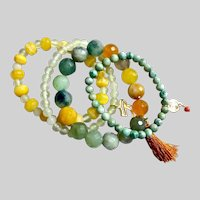 Quartet of Gemstone Bracelets in Greens and Yellows, Stretchy