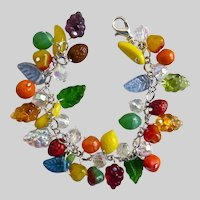 Glass Fruit Salad Charm Bracelet