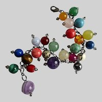 "Gemstone Charm Bracelet of Multi Colored Gem-balls, 7 1/2"""