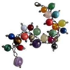 Gemstone Charm Bracelet of Multi Colored Gem-balls, 7 1/2""