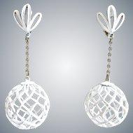Groovy 1960s White Enamel Drop Earrings, Clip Backs