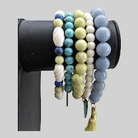 Set of Five Coordinated Gemstone Bracelets, Stretchy