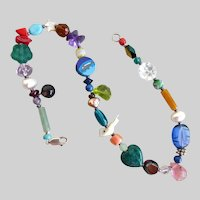 """Artisan Ankle Bracelet, Anklet, of Multicolored Gemstone and Glass Beads,  11"""""""