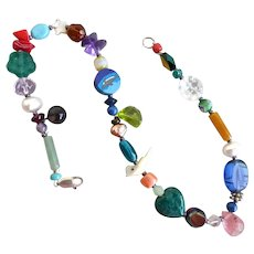 Artisan Ankle Bracelet, Anklet, of Multicolored Gemstone and Glass Beads,  11""
