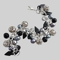 Artisan Charm Bracelet in Blacks, Greys, Silver Tones and Crystal, One of a Kind