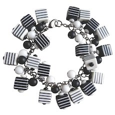 """Charm Bracelet of Black and White Striped Acrylic Cubes, 8"""""""