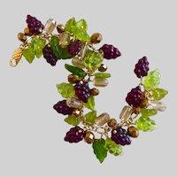 Dark Burgundy and Green Glass Grapes Artisan Charm Bracelet