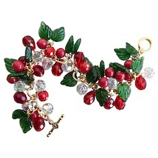 Christmas Charm Bracelet of Green Glass Leaves, Faceted Red and Crystal Beads