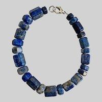"Artisan Bracelet of Chunky Natural Lapis Lazuli Untreated Beads, 8 3/4"", Unisex"