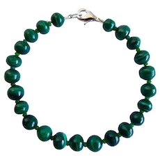 Natural Green Malachite Bracelet, 6-7mm Beads, Sterling Clasp
