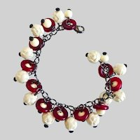 Charm Bracelet of Vintage Glass Rings and Acrylic Beads on Chain