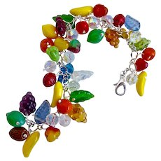 Glass Fruit Salad Charm Bracelet