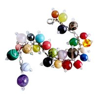 """Fun Bracelet of Multi Colored  Gemstone GemBalls and Crystal Drops, 8"""""""