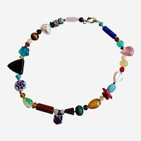 Multicolored Gemstone and Glass Ankle Bracelet Anklet
