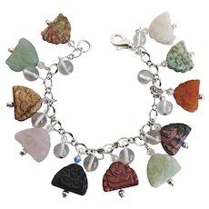 "Charm Bracelet of Hand Carved Gemstone Buddha Beads, 7 3/4"""