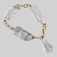 Chunky Rock Crystal Quartz 3 Section Artisan Bracelet with Drop