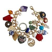 "Bracelet of Asian Themed Charms, 8"""
