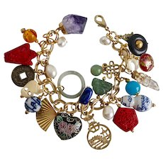 Bracelet of Asian Themed Charms, 8""
