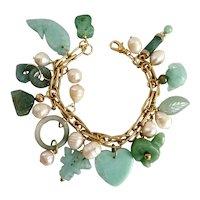 "Artisan Charm Bracelet of Jade, Quartz and Freshwater Pearls, 8"""