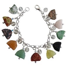 Charm Bracelet of Hand Carved Gemstone Laughing Buddhas with Clear Quartz Beads