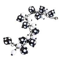 Black and White Polka Dot Bead Charm Bracelet