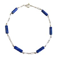 Lapis and Sterling Silver Ankle Bracelet Anklet, 10 inches