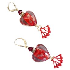 Red and Clear Lampwork Glass Earrings with Acrylic Cherry Drops