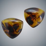 Vintage Faux Tortoise Shell Lucite Triangular Button Earrings