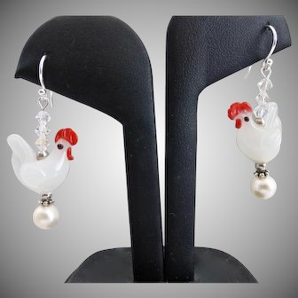 Artisan Lamp Worked Glass Chickens with Sterling Silver,  Freshwater Pearls and Crystal, Earrings