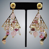 Asymmetrical Artisan Drop Earrings of Rose Quartz, Cultured and Freshwater Pearls