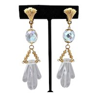 Icy Cool Vintage Lucite and Crystal Drop Earrings, Clip Backs