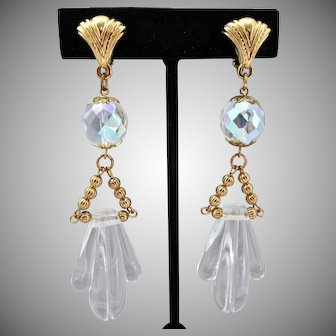 Icy Cool Summery Lucite and Crystal Artisan Drop Earrings, Clips
