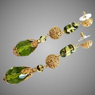 Long Olive Green Cut Glass Teardrop Earrings with Goldtone Filigree Accents, 3""