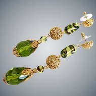 """Long Olive Green Cut Glass Teardrop Earrings with Goldtone Filigree Accents, 3"""""""
