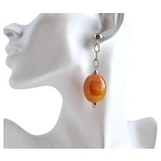 Vintage Lucite Faux Amber Barrels in a Drop Earring, Artisan made