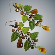 Lampwork Glass Pears and Glass Leaves Artisan Earrings