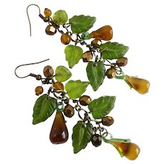 Lampwork Glass Pears and Glass Leaves Artisan Earrings