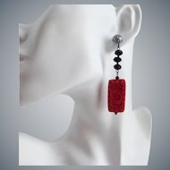 Long Cinnabar Artisan Earrings with Black Crystals
