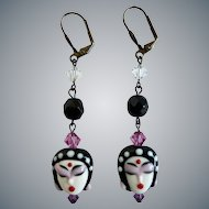 Drop Earrings of Exquisite Handcrafted Porcelain Faces