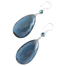 Faceted Blue Vintage Lucite Teardrop Earrings