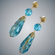 Long Ocean Aqua and Clear Vintage Acrylic Teardrop Earrings