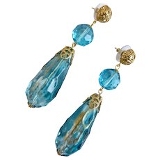 Long Ocean Aqua and Clear Vintage Acrylic Teardrop Earrings