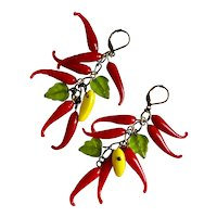 Vintage Glass Hot Chili Peppers Artisan Drop Earrings