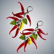 Hot Vintage Glass Chili Peppers Drop Earrings